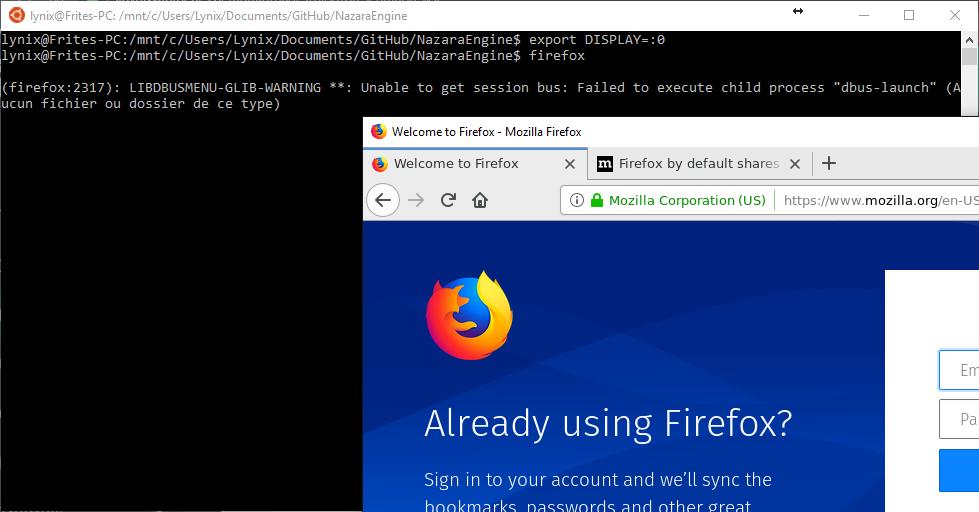 Firefox tournant sur WSL