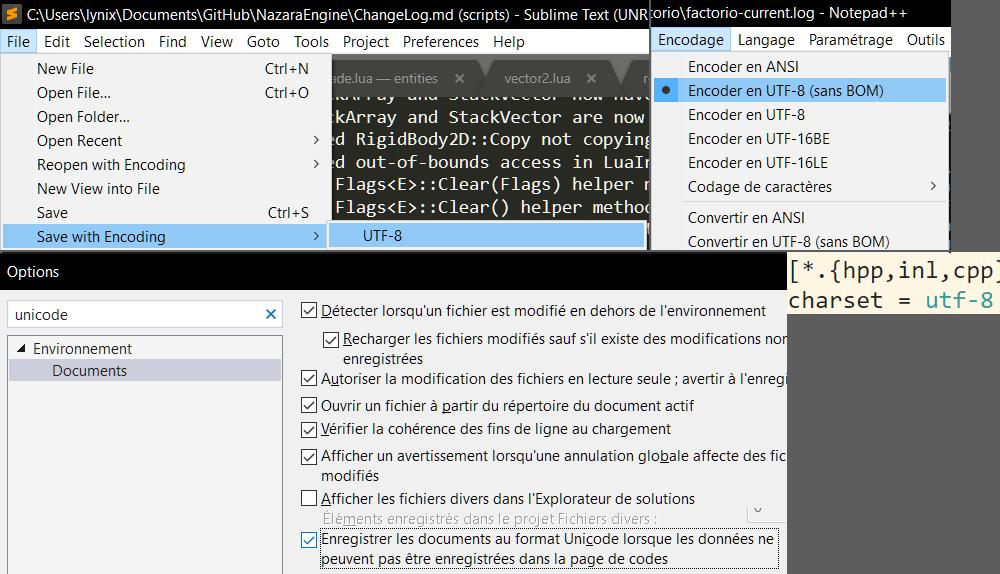 Diverses façons d'enregistrer ses fichiers en UTF-8